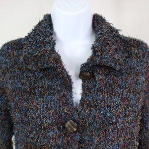 Curio Sweaters - Curio textured thread cardigan blue gold button up